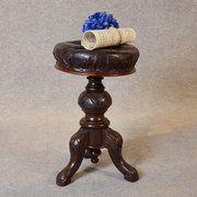 Antique Music Piano Stool Leather Button Adjustabl Condition: Very good Origin: English Circa 1880