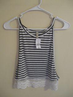 NWT If Emma Sam Striped High Neck Crochet Crop Top    [url]: http://www.vinted.com/sh/clothes/15885198-nwt-lf-emma-sam-striped-high-neck-crochet-crop-top