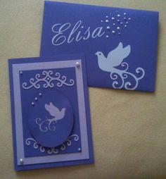 """Lila Karte zur Firmung mit """"Swirly Dove"""" + Umschlag"""