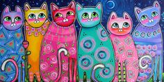 Large Folk Art cat Prints | ... The Moonlight Painting - Colorful Cats In The Moonlight Fine Art Print