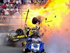 In 2000 in the first Truck series race held at Dayton; Geoff Bodine had a vicious, fiery crash. Description from fantasynascarracin.yolasite.com. I searched for this on bing.com/images