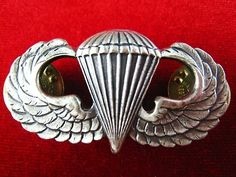 US STERLING SILVER PARATROOPER AIRBORNE PARACHUTE PARA WINGS BADGE MEDAL | eBay