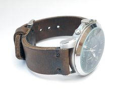 Distressed Brown Leather Hand Made Watch Strap with by LeatherD
