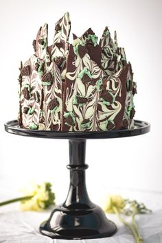 Baileys Irish Creme Chocolate Layer Cake with Chocolate Mint Oreo Bark.