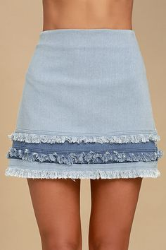 Like a Dream Light Wash Denim Mini Skirt 4