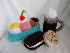 Ice Cream Desserts Set Play Food Crochet