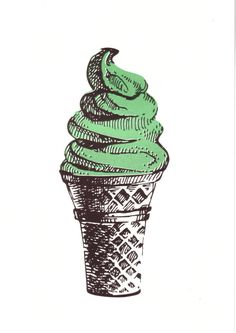 Risograph print  mint pistachio soft serve ice by prettythingslive