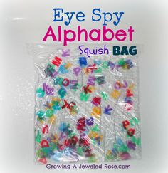 Eye Spy Alphabet Squish Bag- such a fun way to practice letter recognition! Other great sensory bags too! Preschool Literacy, Early Literacy, Literacy Activities, Preschool Activities, Nursery Activities, Homeschool Kindergarten, Literacy Stations, Learning Letters, Kids Learning
