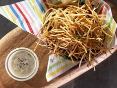 Shoestring Fries with Truffle Aioli Recipe : Food Network - FoodNetwork.com