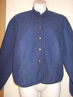 GEIGER Navy Blue Boiled Wool Cardigan Sweater Button Up Austria Size 42