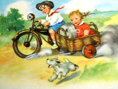 Unused antique postcard from 30s - girl and a boy with motomotorcycle  - made in Estonia - greeting card