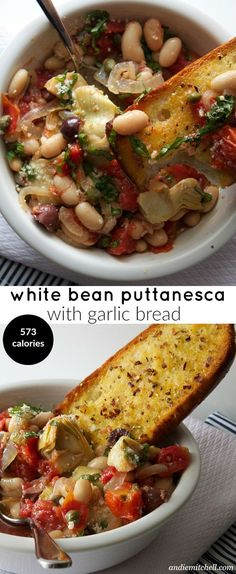 Healthy Meals White Bean Puttanesca, delicious nutritious and hearty meal - White Bean Puttanesca Recipe with a quick garlic bread recipe too! Easy and healthy! Veggie Recipes, Whole Food Recipes, Vegetarian Recipes, Cooking Recipes, Healthy Recipes, Hamburger Recipes, Veggie Food, Pepperoni Recipes, Jalapeno Recipes