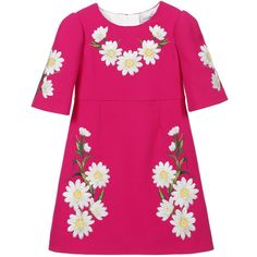 Bright pink crêpewool dress by Dolce & Gabbana. This beautiful design has a classic A-line shape, with 3/4 length sleeves. It is made in a slightly textured wool crêpe fabric, embroidered with daisies. It does up at the back with a concealed zip and has a white polyester satin lining.<br /> <ul> <li>100% crêpewool (slightly textured feel)</li> <li>Lining: 100% polyester (silky satin feel)</li> <li>Dry clean</li> <li>3/4 length sleeves</li> <li>Back zip fastening</li> <li>Larg...