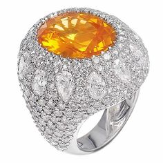 """The Sun"" Missbach Ring, Yellow Sapphire, Diamonds and White Gold"