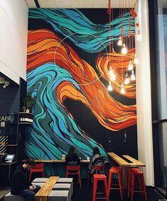 Best Cafe Bar Design Ideas For You - Wandkunst Murals Street Art, Mural Wall Art, Mural Painting, Paintings, Mural Cafe, Graffiti, Office Mural, Wal Art, Decoration Vitrine