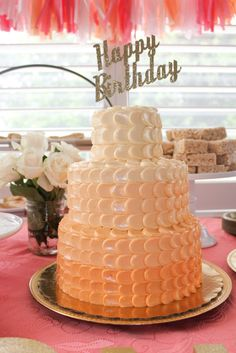 3 Tier Peach and Coral Ombre Petal Cake - lovely!