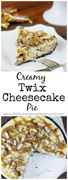Twix Cheesecake Pie ~ if you love Twix candy bars, you will love them even mo. Just Desserts, Delicious Desserts, Yummy Food, Cupcakes, Cupcake Cakes, Pie Dessert, Dessert Recipes, Dessert Ideas, Cheesecake Pie