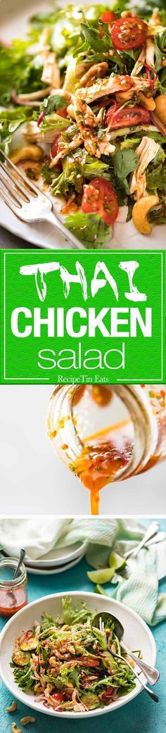 Thai Chicken Salad with a bright zesty Chilli Lime Dressing, classic balance of Thai tangy-sweet-salty flavours.
