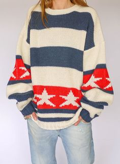 Vintage stars and stripes sweater; great idea for knitting!
