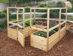 Enclosed Vegetable Garden with Raised Beds http://eartheasy.com/deer-proof-cedar-complete-raised-garden-bed-kit-8-x-8-x-20