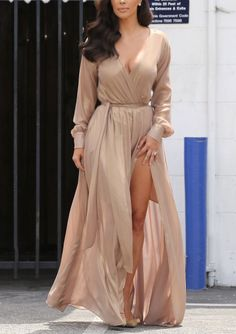 Long maxi beige dress. Street summer elegant Women fashion outfit clothing style apparel @roressclothes closet ideas