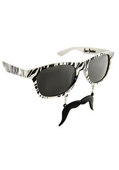 Zebra Sun-staches #Sunglasses #Mustache;   Hilarious!!