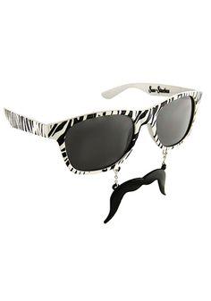 Zebra Sun-staches #Sunglasses #Mustache;   Hilarious!!