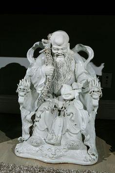 SHOU LAO | Shou Lao - God of Longevity - one of 19th c. Chinese Group of 3 Blanc ...