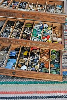 "My grandmother's trunk contained the first button collection I remember. I could look but not touch. My little chubby fingers itched to feel them, sort them, arrange them... When my children came along, I made sure they had their own ""hands-on"" collections of buttons."
