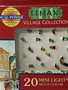 20 Mini Lights Multi Color Christmas Village Lemax Collection 1996 New In Box