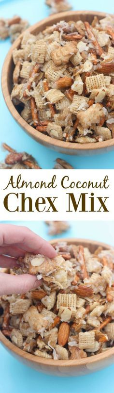 Almond Coconut Chex Mix is part of Chex mix - Almond Coconut Chex Mix includes my favorite cereals, pretzels, and golden grahams tossed in a sweet syrup to make the most addicting snack mix! Snack Mix Recipes, Yummy Snacks, Yummy Treats, Delicious Desserts, Sweet Treats, Yummy Food, Snack Mixes, Healthy Snacks, Fun Food