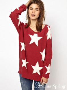New winter wool sweater big red five-pointed star Sweaters Hilfiger Denim eee16bf9f