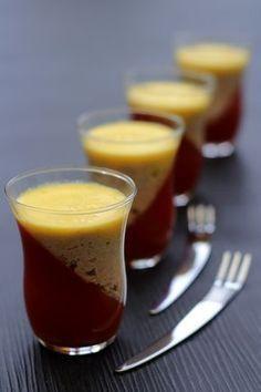 Verrine à la gelée de tomate, mousse de thon et coulis de poivron