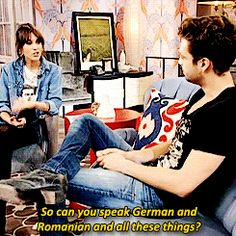 "(gif) - Sebastian Stan: ""I lived in Romania until I was eight and then I left for Vienna. I lived there for another three/four years and then I came here in '95. [So can you speak German and Romanian?] Nein! No, I mean, yeah - no I can, I mean I can speak Romanian fluently with my mom still but German is..."""