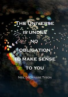 """The Universe is under no obligation to make sense to you"" Neil deGrasse Tyson. Love watching Neil's mind expanding shows on our universe ~ ss Great Quotes, Quotes To Live By, Me Quotes, Inspirational Quotes, Motivational Quotes, Quick Quotes, Smart Quotes, Dance Quotes, Strong Quotes"
