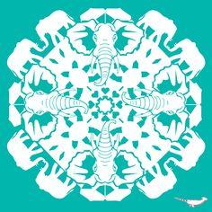 African Elephant ZOOFLAKE Snowflake Images, Snowflake Cutouts, Paper Snowflakes, Snowflake Designs, Snowflake Pattern, Cut Paper, Paper Art, Paper Crafts, Kirigami
