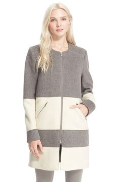Free shipping and returns on Parker 'Hurley' BlanketStripe Wool Coat at Nordstrom.com. A pair of contrast blanket stripes in snowy white lightens this soft grey wool coat, modernized with a collarless neckline and silvery zips.