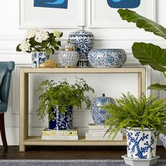 Find inspiration and ideas from Williams Sonoma Home's Fresh Chinoiserie Decor. Shop our favorite rooms and styles for decor, furniture, and lighting ideas. Williams Sonoma, Blue And White Vase, White Vases, Plywood Furniture, Entryway Decor, Wall Decor, White Wall Shelves, Keramik Vase, Chinoiserie Chic