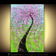 Large Modern Pink cherry blossom tree on green by ModernHouseArt, $64.00