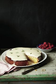 Almond Cake with Lemon and Crème Fraîche Glaze.