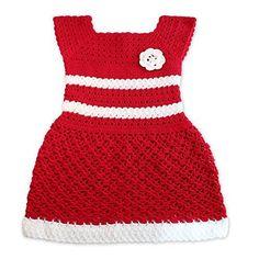Vestido de niña, color rojo y blanco.