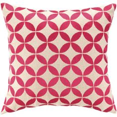 Circle Pink Embroidered Linen Pillow