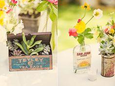 Healdsburg Garden Party wedding from Blueberry Photography. Recycled Wedding, Garden Party Wedding, Decoration Inspiration, Vintage Bottles, Sister Wedding, Vintage Tea, Floral Arrangements, Real Weddings, Bridal Shower