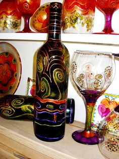 handpainted wine bottle and glasses