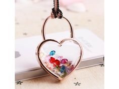 #18k Gold Plated with #Crystal Heart Lock and Key Round Pendant #Necklace