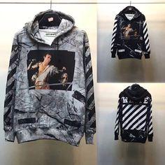 OFF WHITE 16SS STRIPE GREY BLACK MARBLE JESUS FIGURED HOODED SWEATSHIRT #grey #black #offwhite #hoodie #sweatshirt #hoodedsweatshirt #jesus