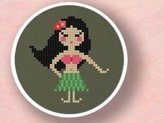 Hula Girl. Cross Stitch PDF Pattern op Etsy, 2,79€