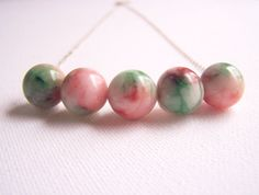 Floral WATERMELON JADE Violet Leather Sterling Silver Necklace - $75.00 Women's, Gugma Jewelry