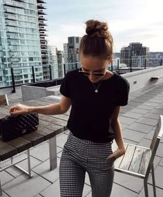 "summer outfits Black Tee Gingham Pants -> SALE up to off Fashio . - SALE bis auf Fashio…""> summer outfits Black Tee Gingham Pants -> SALE up to - Black Tees, Black And White Pants, Black And White Style, Black Plaid, Black Crop Tops, Black Knit, Blue Denim, White Jeans, Looks Style"