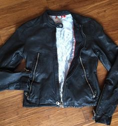 DOMA Black Leather Jacket Blue Silky Lining Unique Zippers... MISS my jacket ALREADY..😞